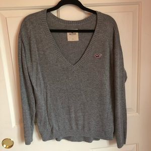 Hollister Gray V Neck Sweater